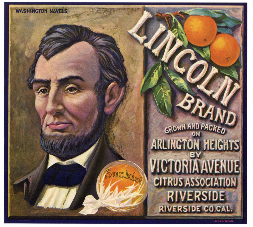 Lincoln Brand Vintage Riverside Orange Crate Label, color