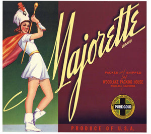 Majorette Brand Vintage Woodlake Orange Crate Label