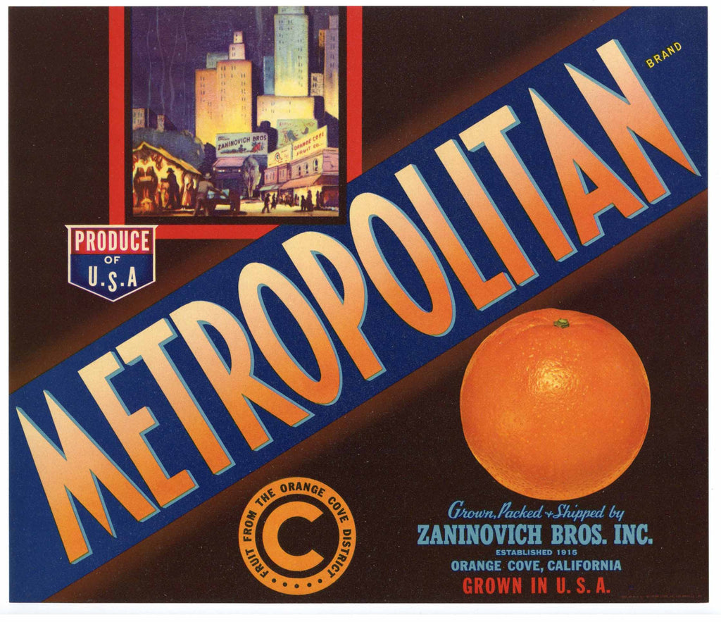 Metropolitan Brand Vintage Orange Crate Label