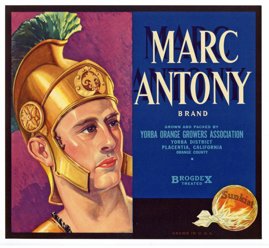 Marc Antony Brand Vintage Placentia Orange Crate Label