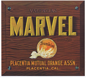 Marvel Brand Vintage Placentia Orange Crate Label