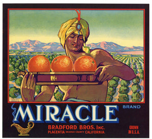 Miracle Brand Vintage Placentia Orange Crate Label