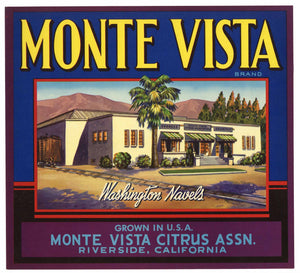 Monte Vista Brand Vintage Riverside Orange Crate Label