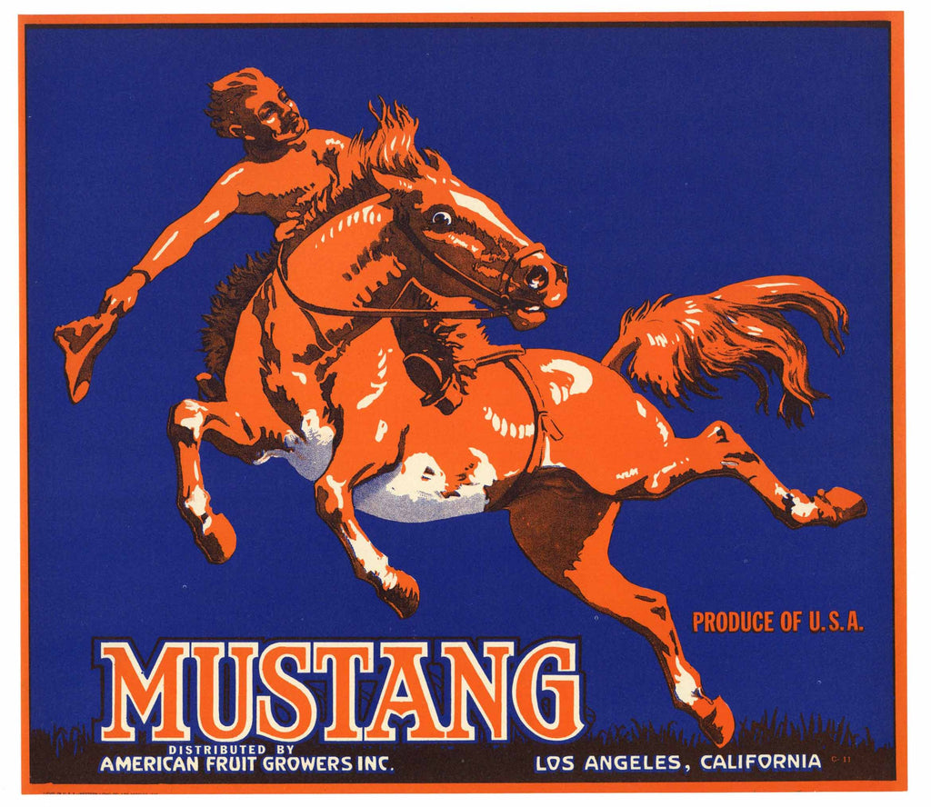 Mustang Brand Vintage Orange Crate Label