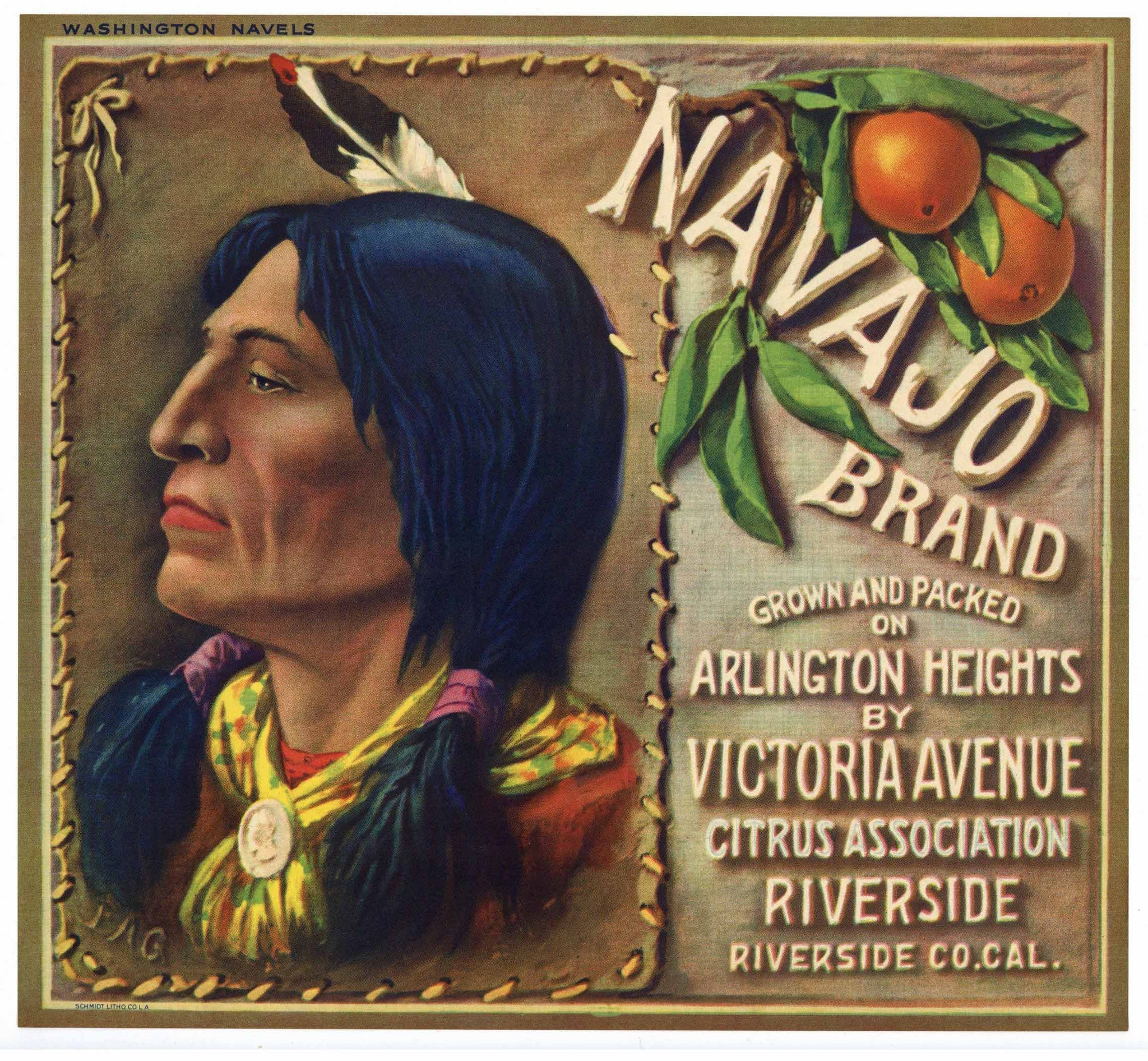 Navajo Brand Vintage Riverside Orange Crate Label, wn
