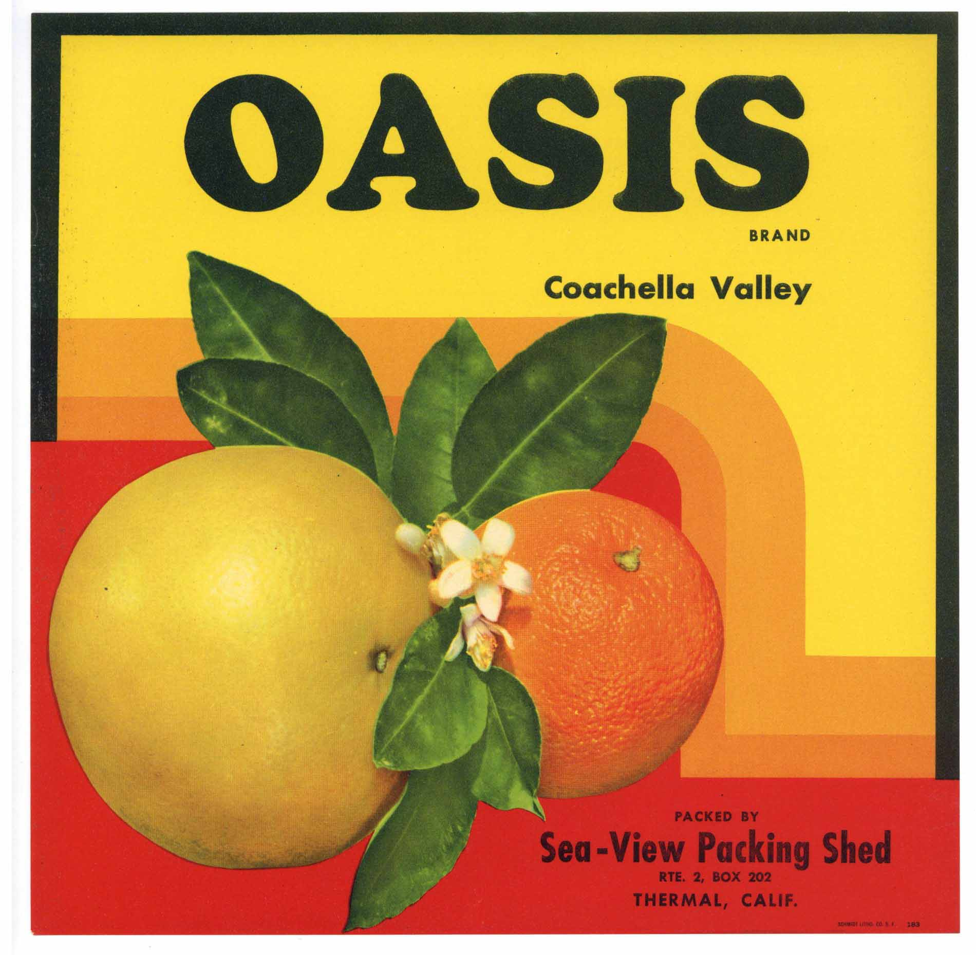 Oasis Brand Vintage  Coachella Valley Orange Crate Label