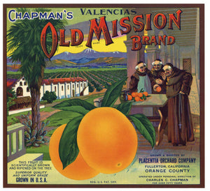 Old Mission Brand Vintage Placentia Orange Crate Label