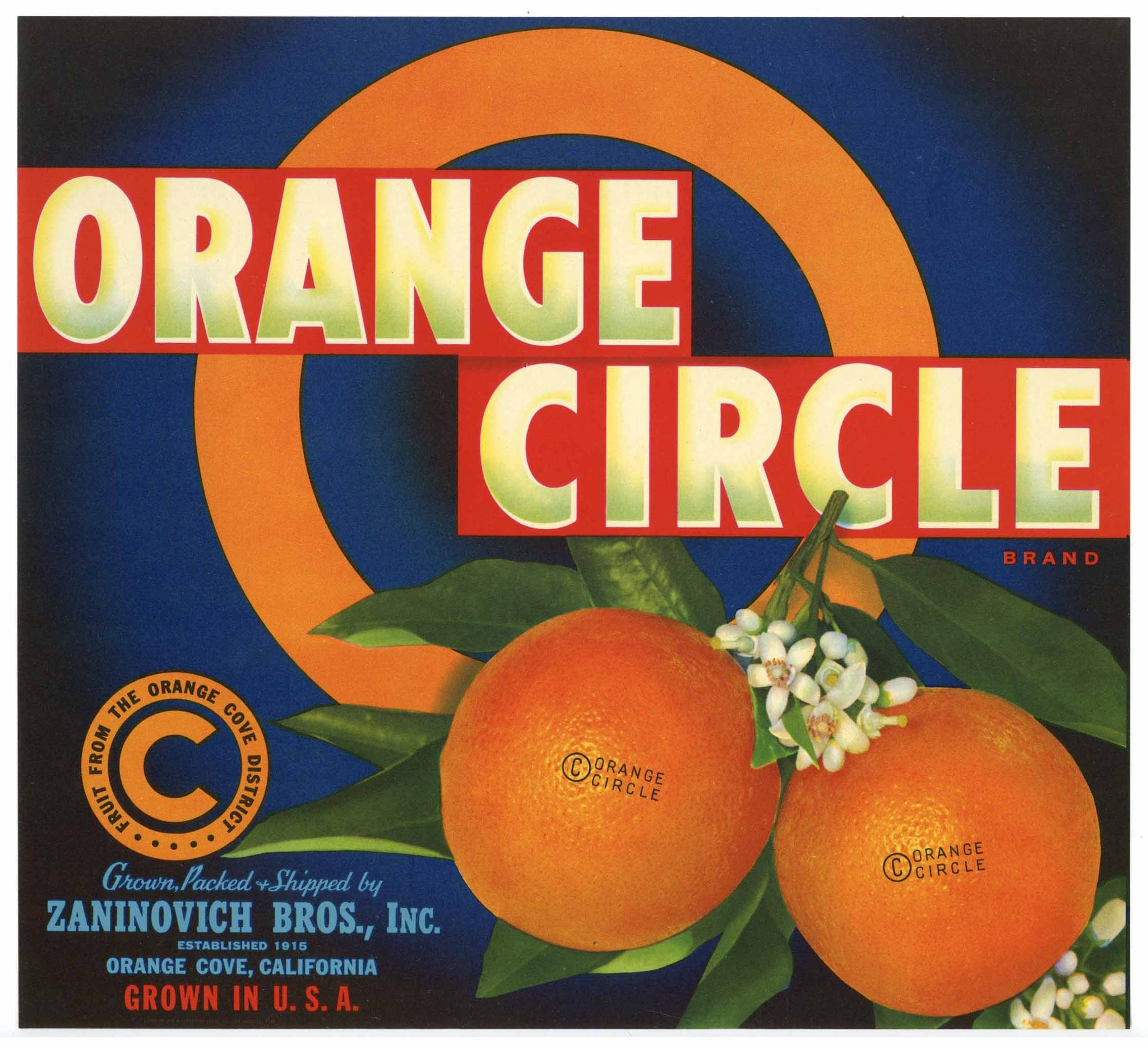 Orange Circle Brand Vintage Orange Crate Label
