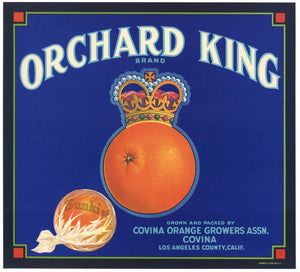 Orchard King Brand Vintage Covina Orange Crate Label