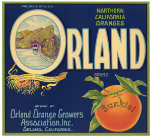 Orland Brand Vintage California Orange Crate Label
