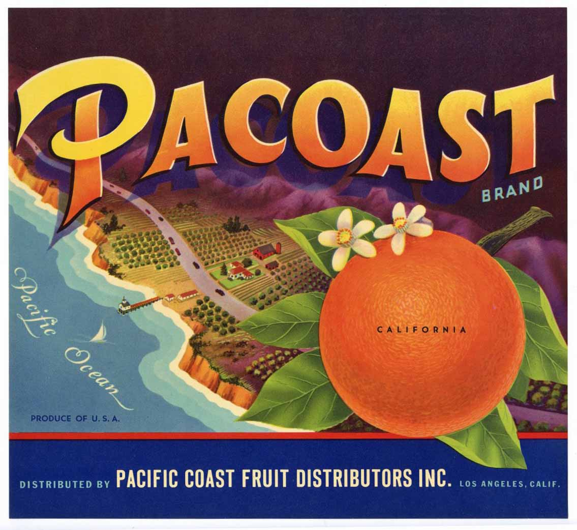 Pacoast Brand Vintage Orange Crate Label