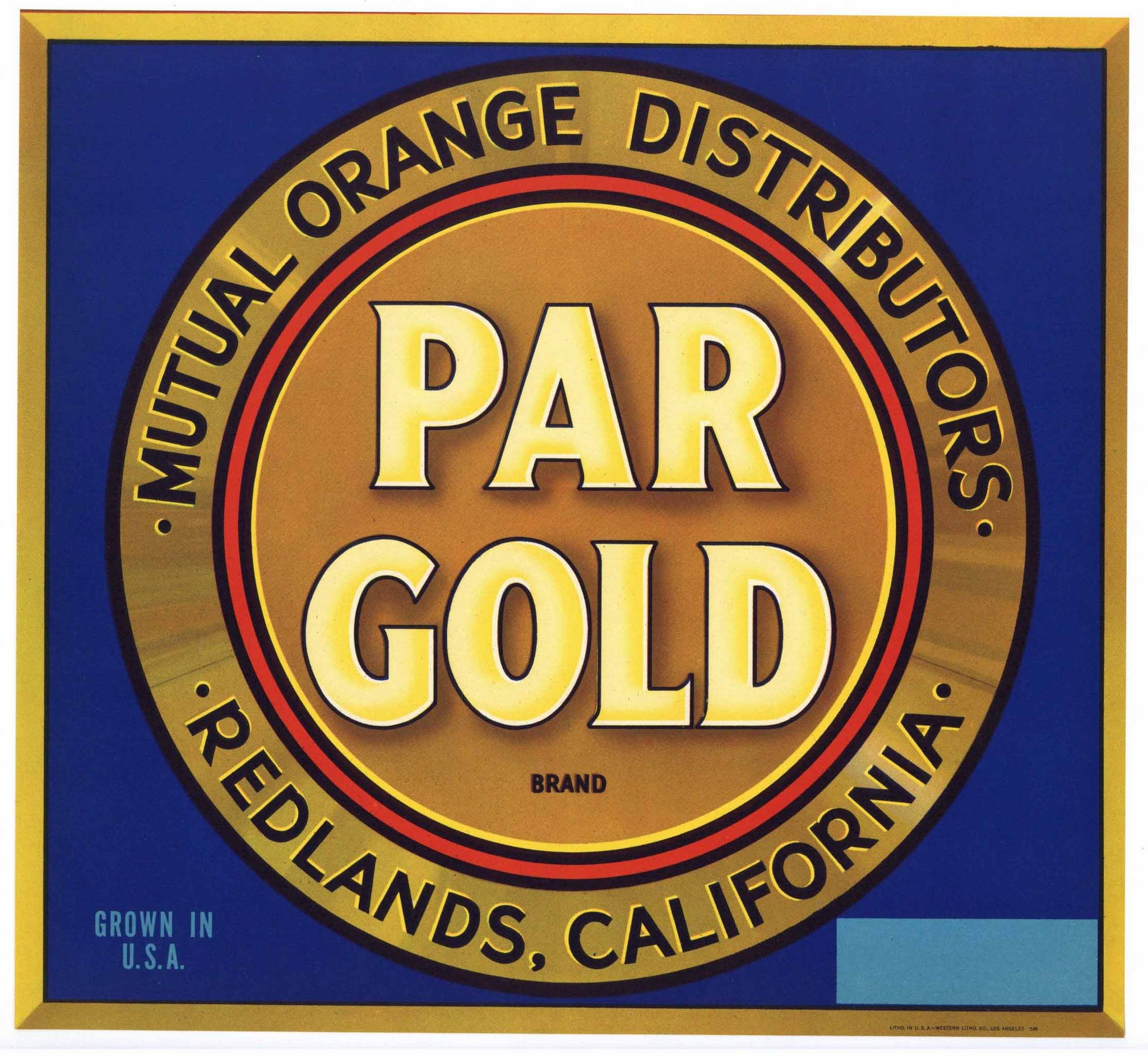 Par Gold Brand Vintage Redlands Orange Crate Label