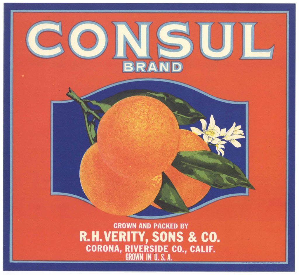 Consul Brand Vintage Corona Orange Crate Label