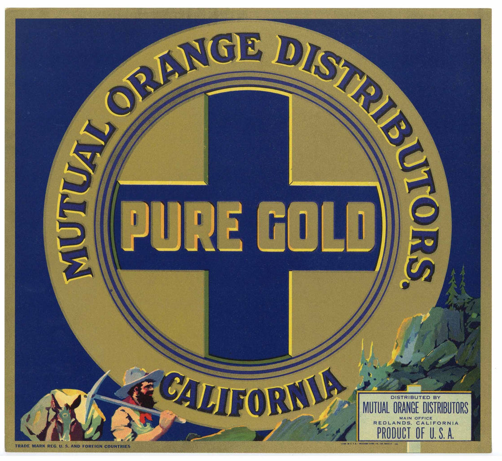 Pure Gold Brand Vintage Redlands Orange Crate Label