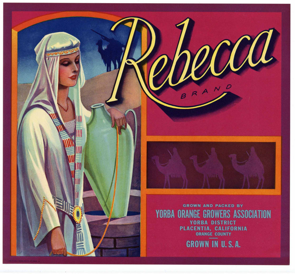 Rebecca Brand Vintage Placentia Orange Crate Label