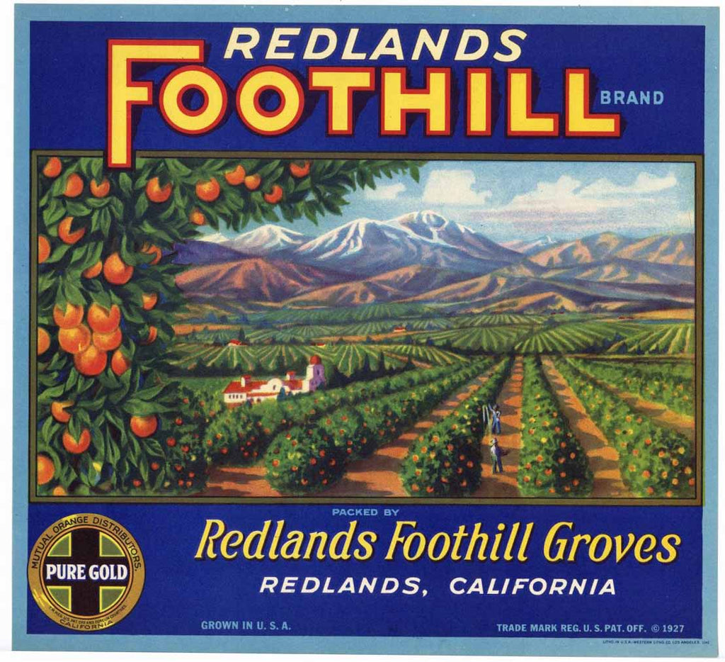 Redlands Foothills Brand Vintage Orange Crate Label