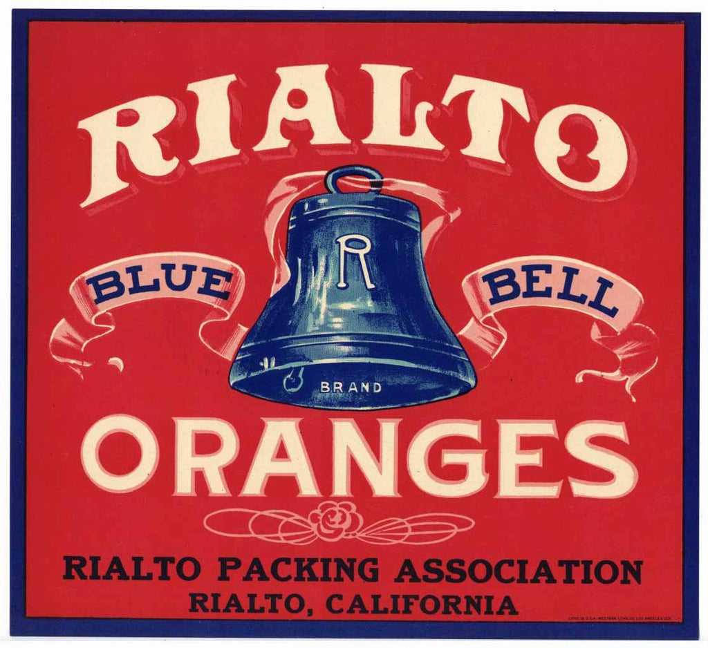 Rialto Blue Bell Brand Vintage Orange Crate Label