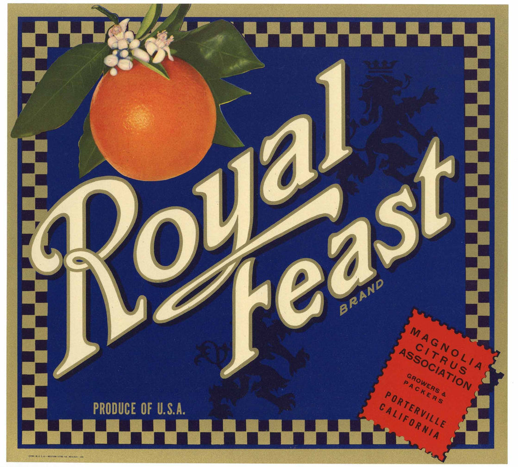 Royal Feast Brand Vintage Porterville Orange Crate Label