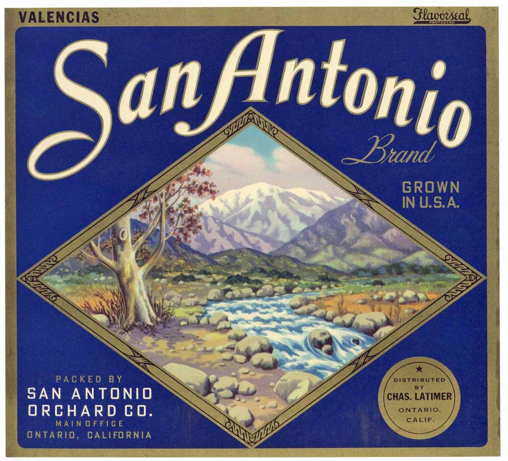 San Antonio Brand Vintage Ontario Orange Crate Label