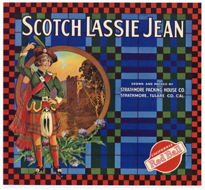 Scotch Lassie Jean Brand Vintage Tulare County Orange Crate Label