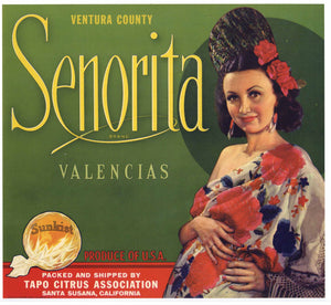 Senorita Brand Vintage Santa Susana Orange Crate Label