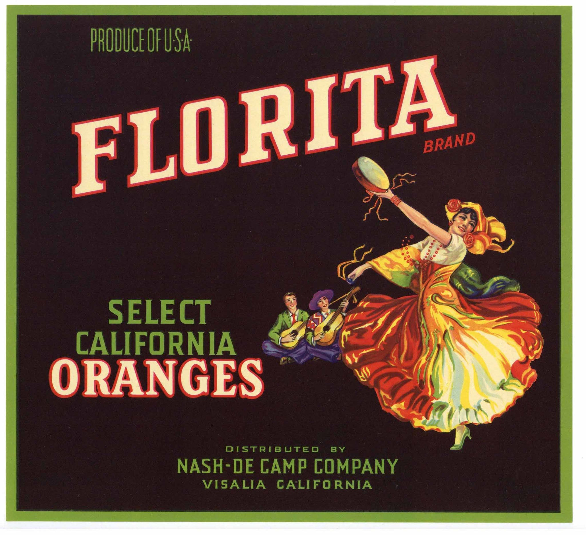 Florita Brand Vintage Visalia Orange Crate Label