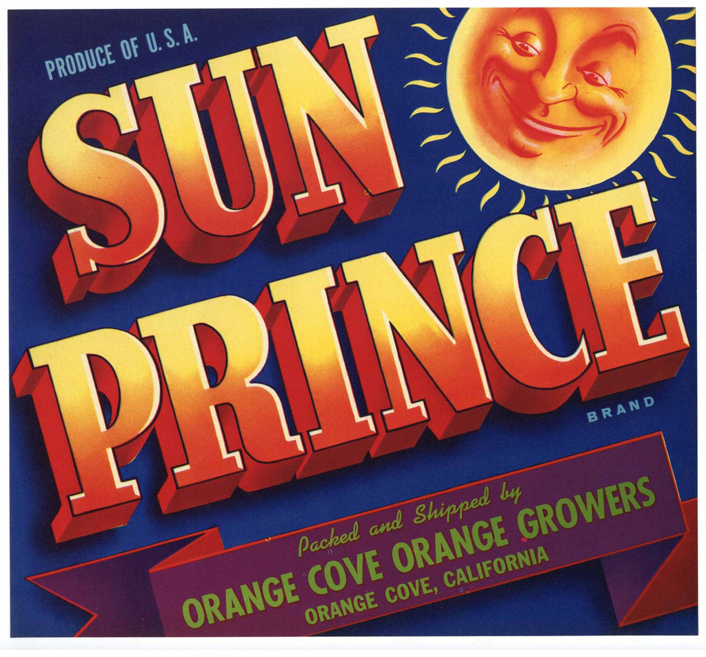 Sun Prince Brand Vintage Orange Crate Label