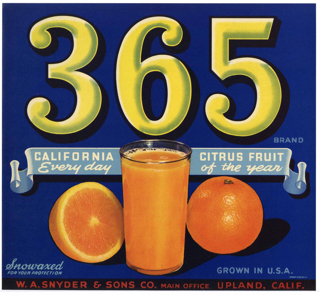 365 Brand Vintage Upland Orange Crate Label