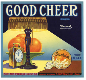 Good Cheer Brand Vintage Porterville Orange Crate Label