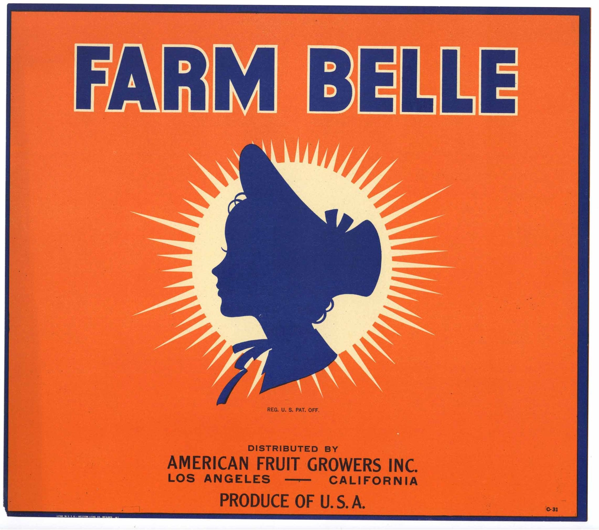 Farm Belle Brand Vintage Orange Crate Label