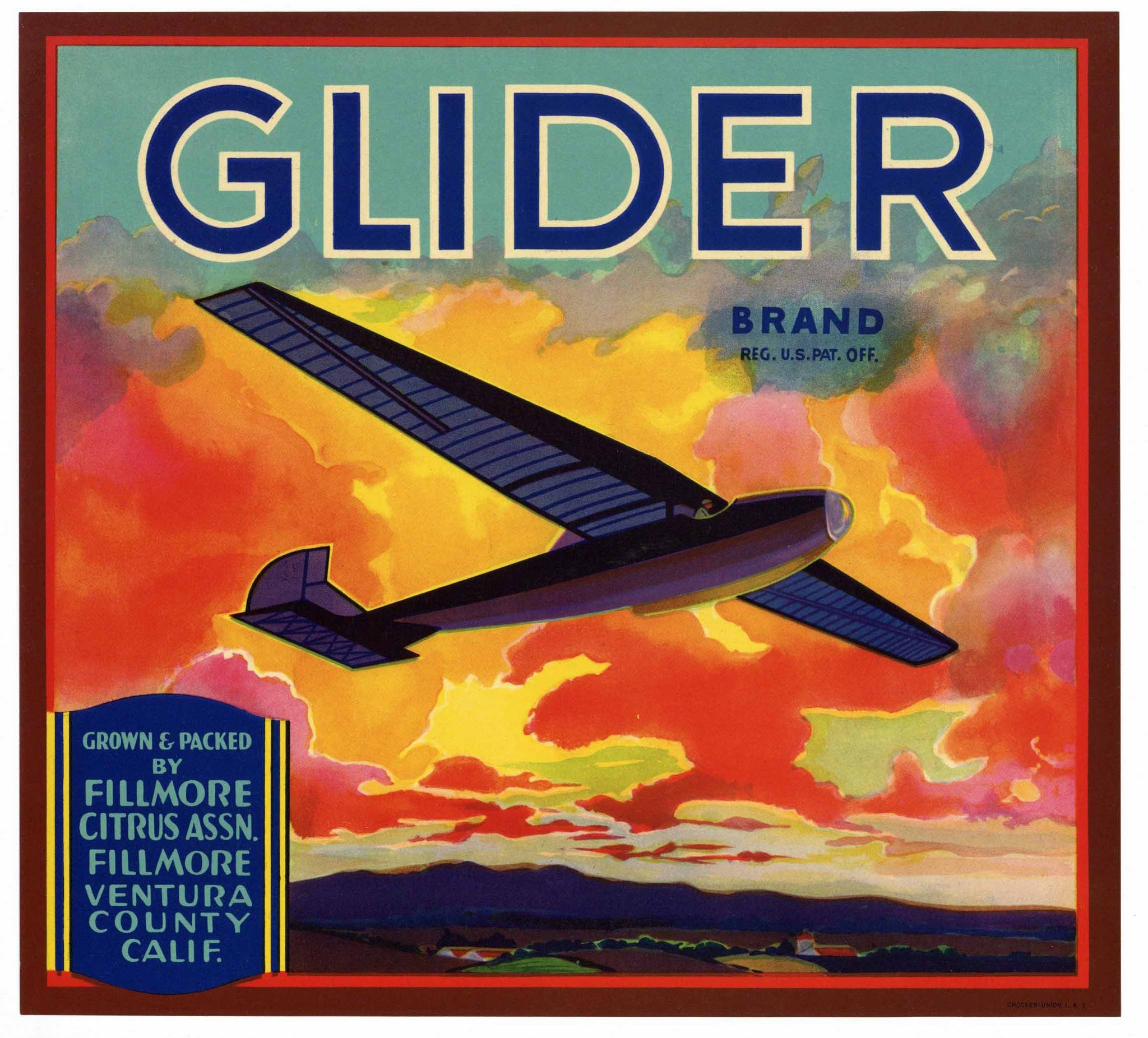 Glider Brand Vintage Fillmore Orange Crate Label