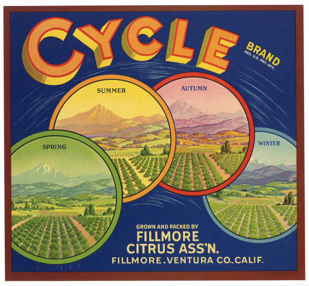 Cycle Brand Vintage Fillmore Orange Crate Label