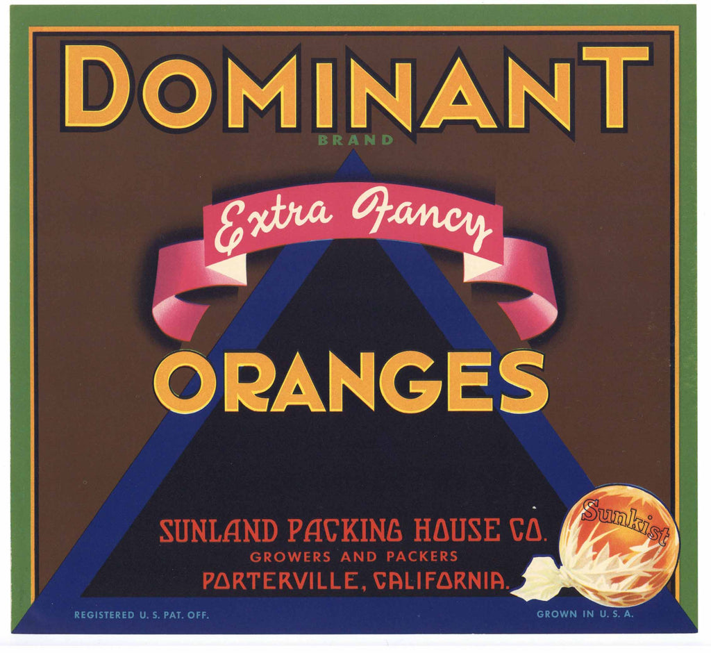 Dominant Brand Vintage Porterville Orange Crate Label