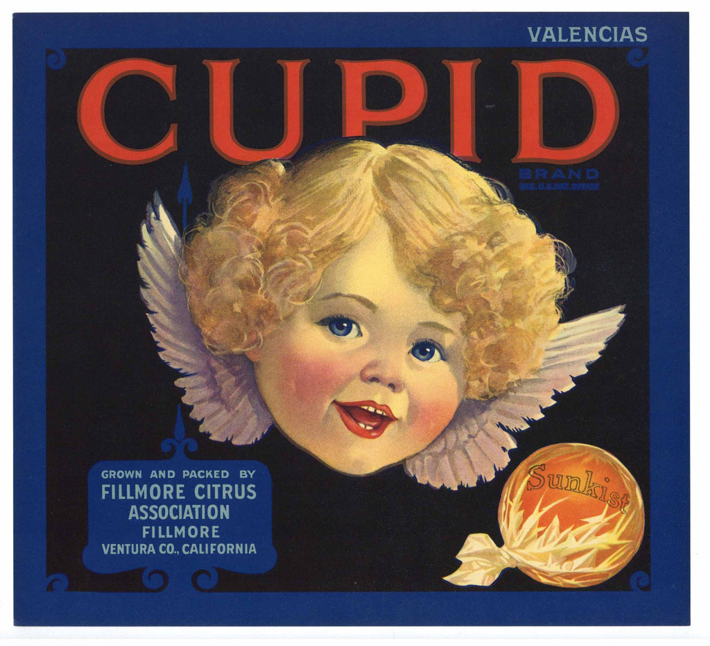 Cupid Brand Vintage Fillmore Orange Crate Label