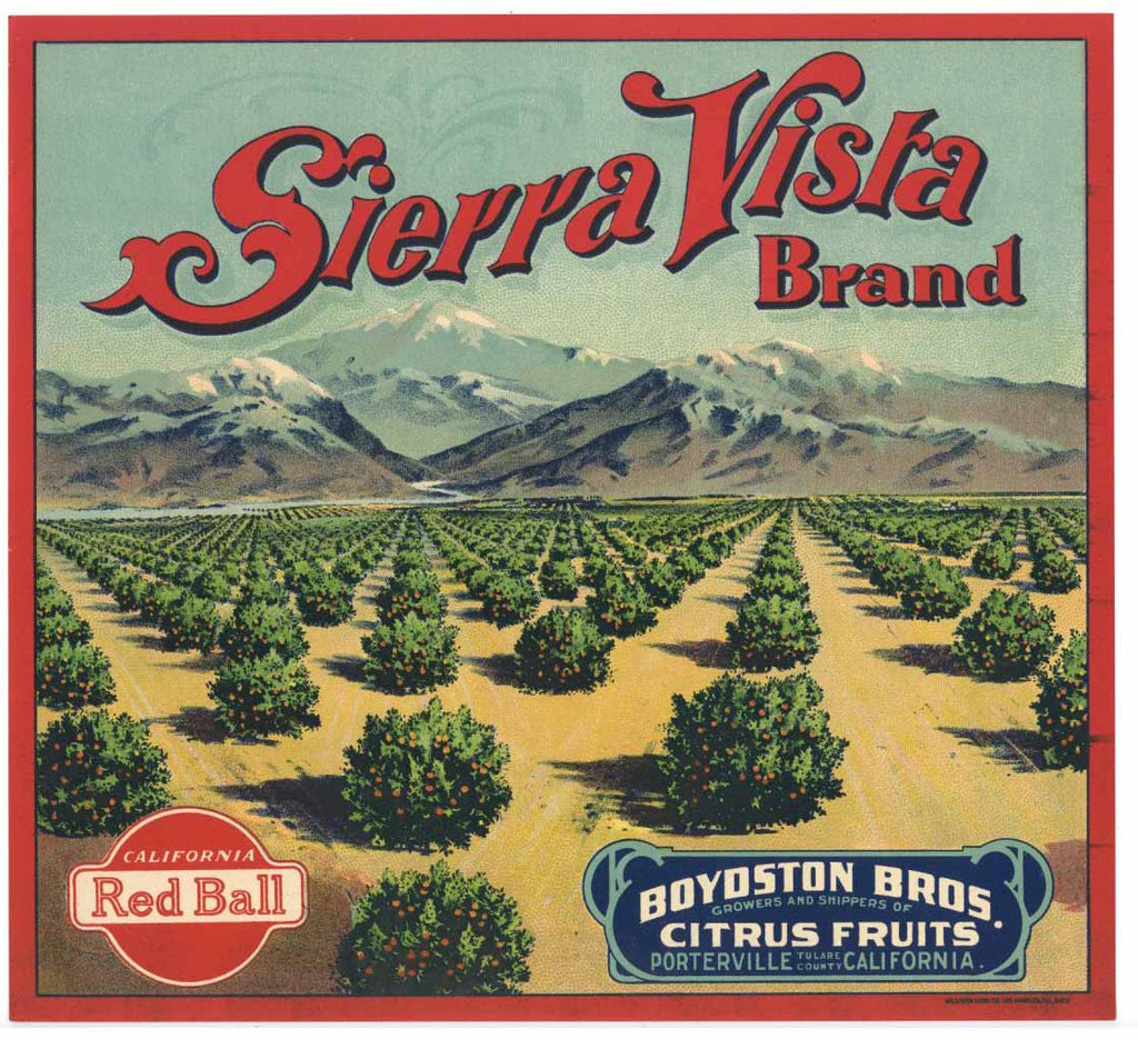 Sierra Vista Brand Vintage Porterville Orange Crate Label