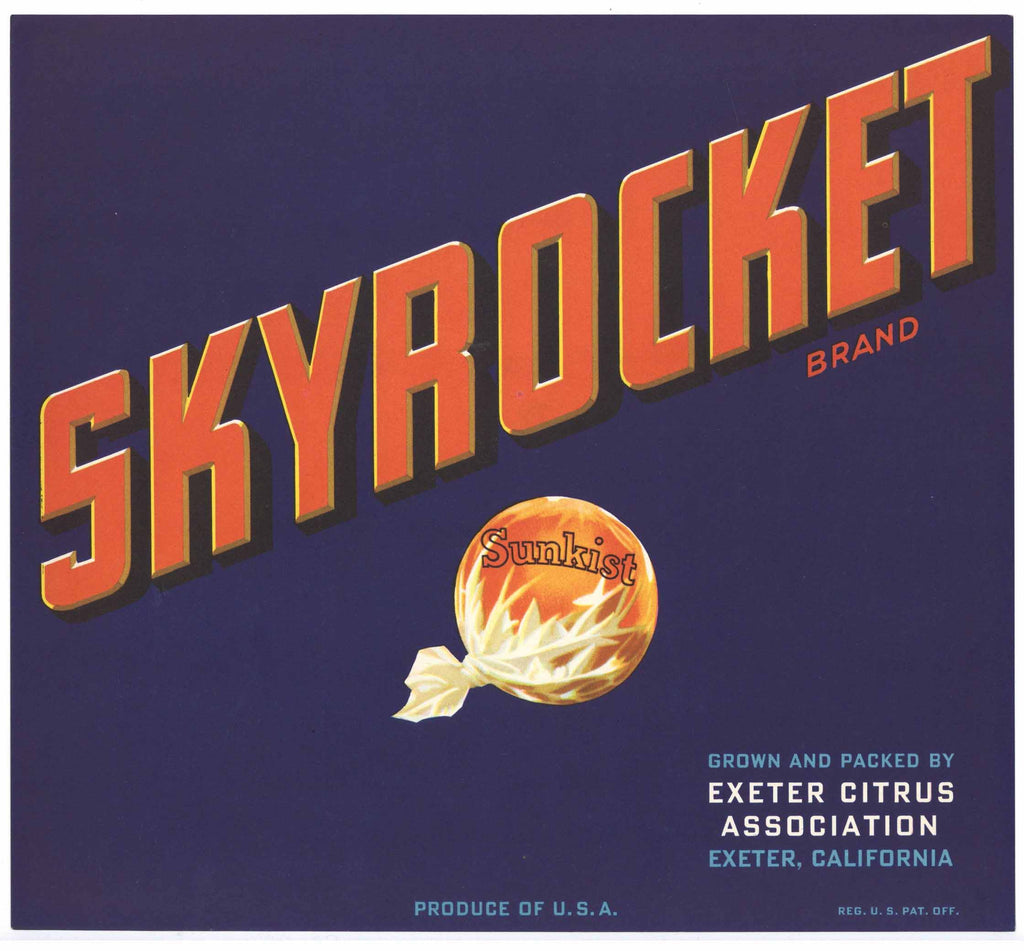 Skyrocket Brand Vintage Exeter Sunkist Orange Crate Label
