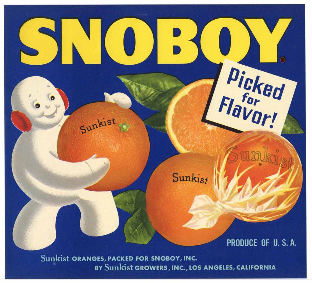 Snoboy Brand Vintage Orange Crate Label