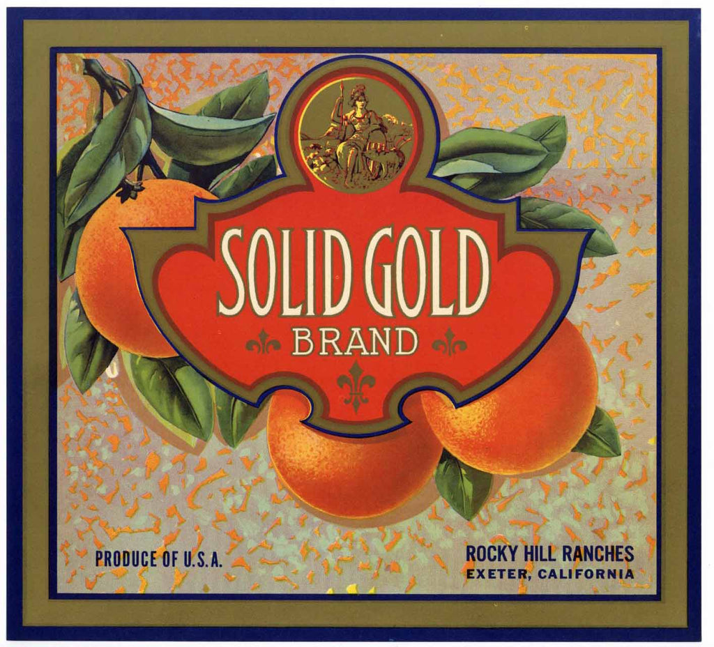Solid Gold Brand Vintage Exeter Orange Crate Label