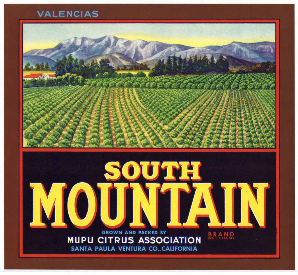 South Mountain Brand Vintage Santa Paula Orange Crate Label