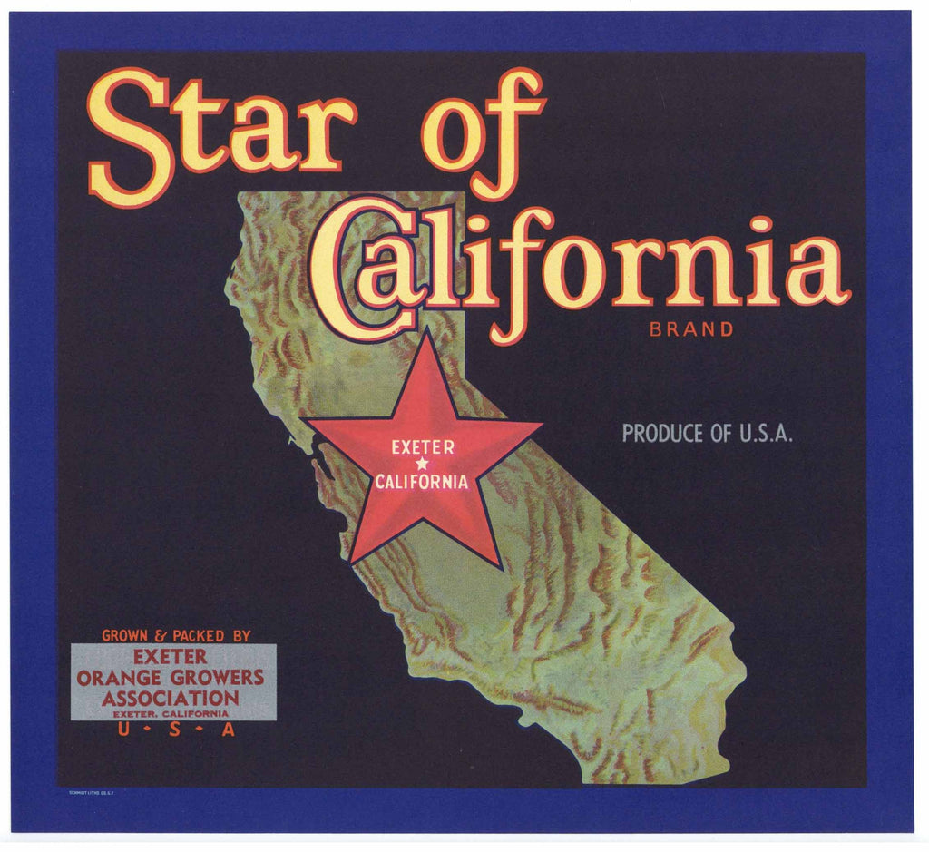Star Of California Brand Vintage Exeter Orange Crate Label