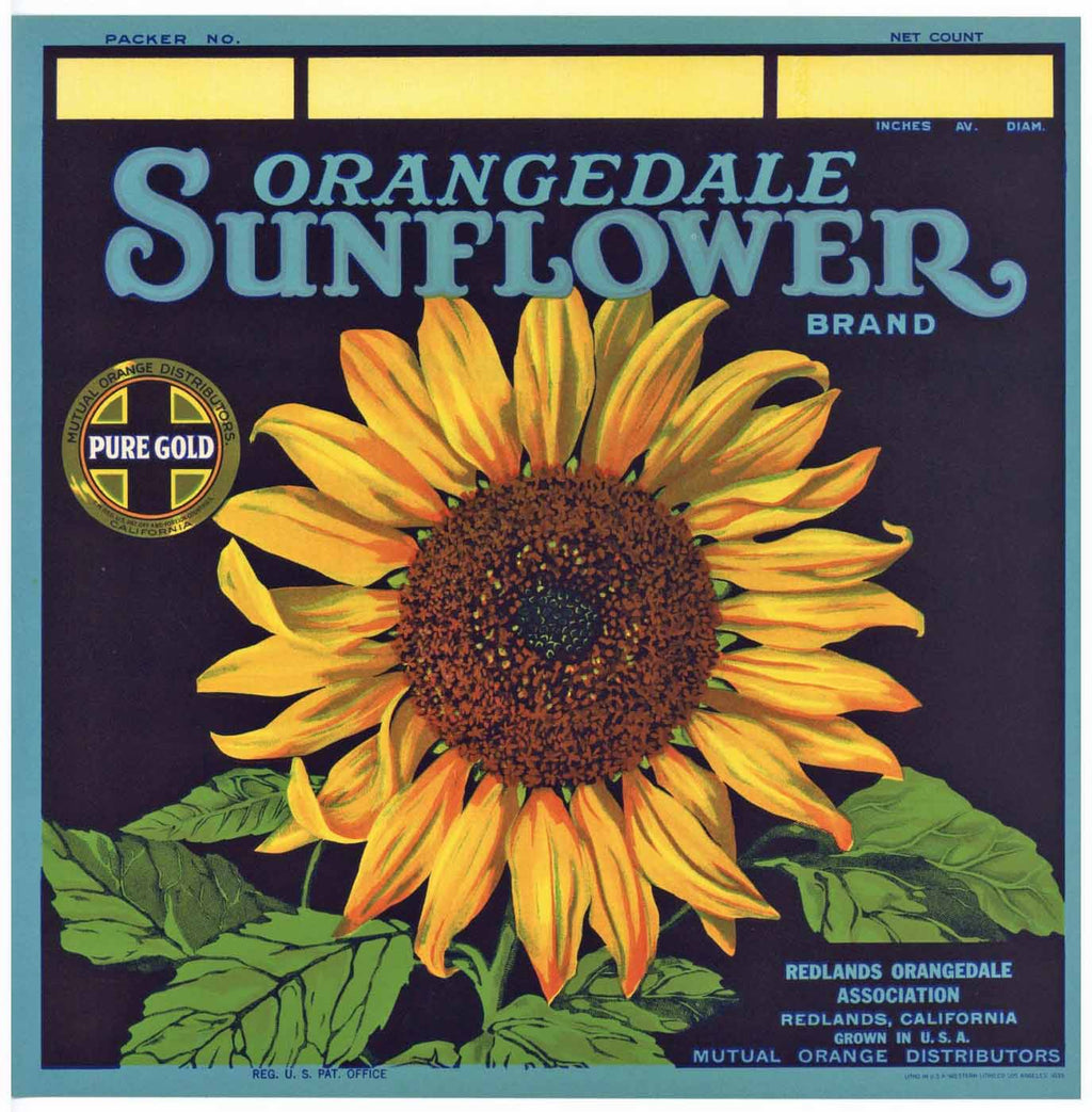 Sunflower Brand Vintage Redlands Orange Crate Label b