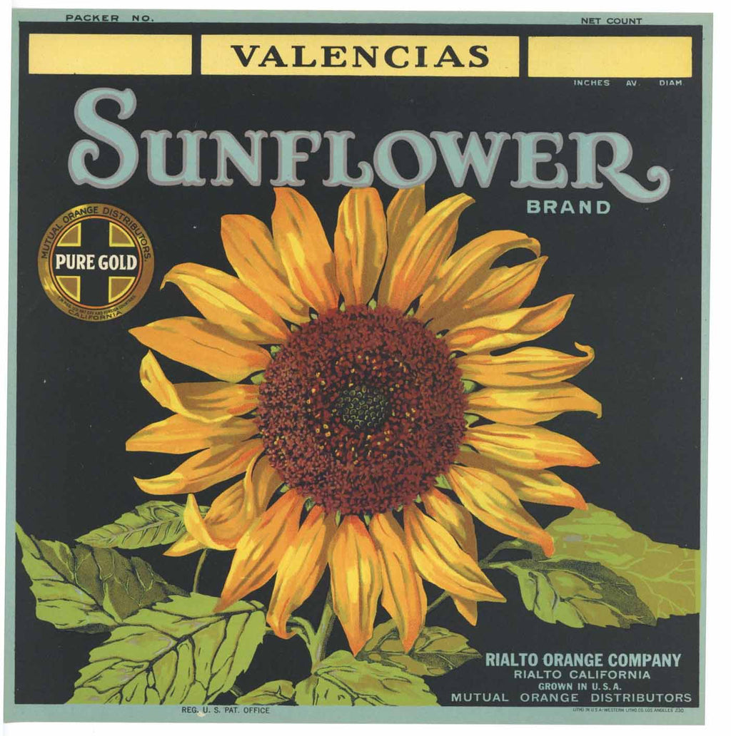 Sunflower Brand Vintage Rialto Orange Crate Label v