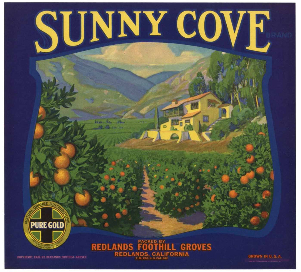 Sunny Cove Brand Vintage Redlands Orange Crate Label