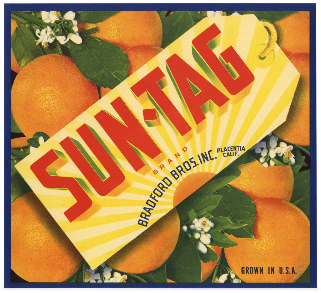 Sun Tag Brand Vintage Placentia Orange Crate Label