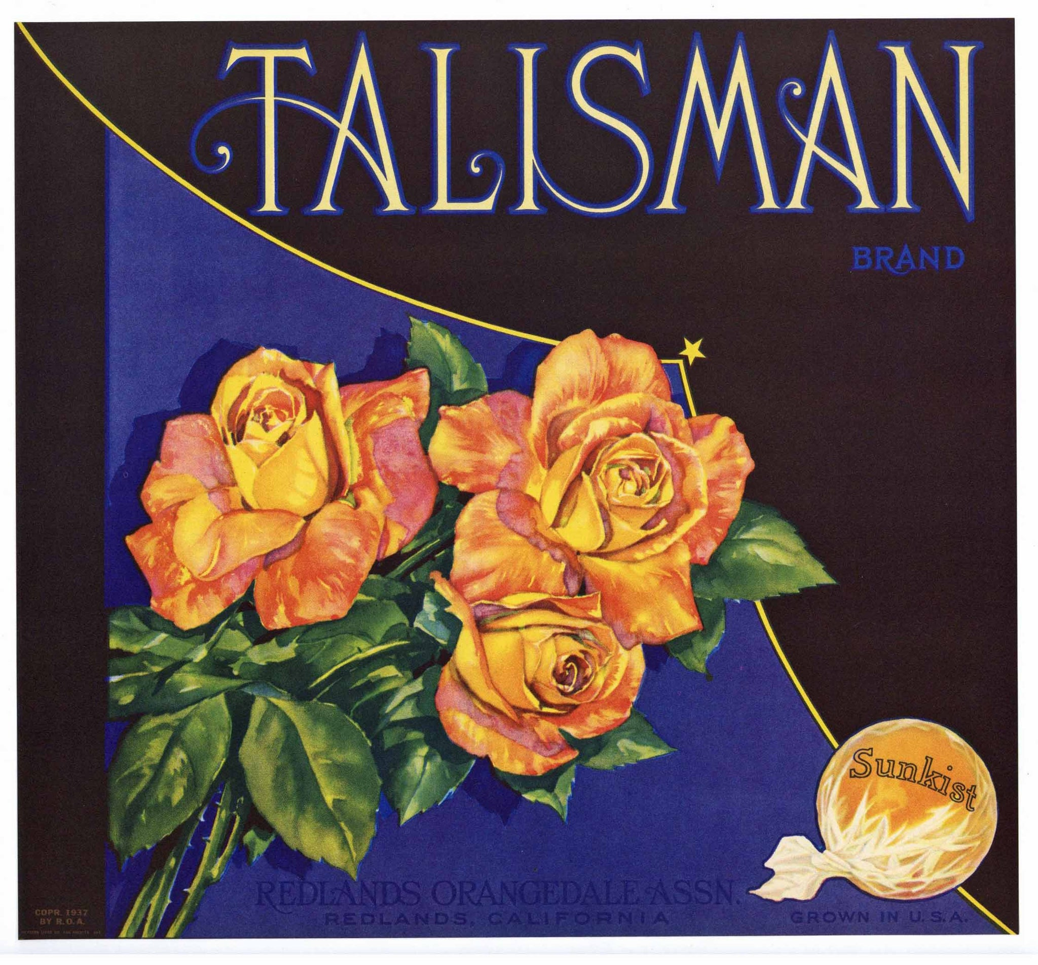 Talisman Brand Vintage Redlands Orange Crate Label