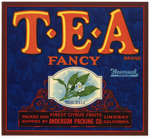 T E A Brand Vintage Tulare County Orange Crate Label
