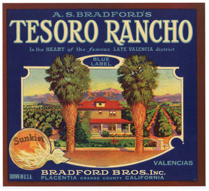 Tesoro Rancho Brand Vintage Placentia Orange Crate Label