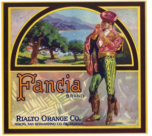 Fancia Brand Vintage Rialto Orange Crate Label