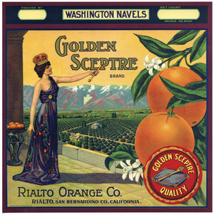 Golden Sceptre Brand Vintage Rialto Orange Crate Label
