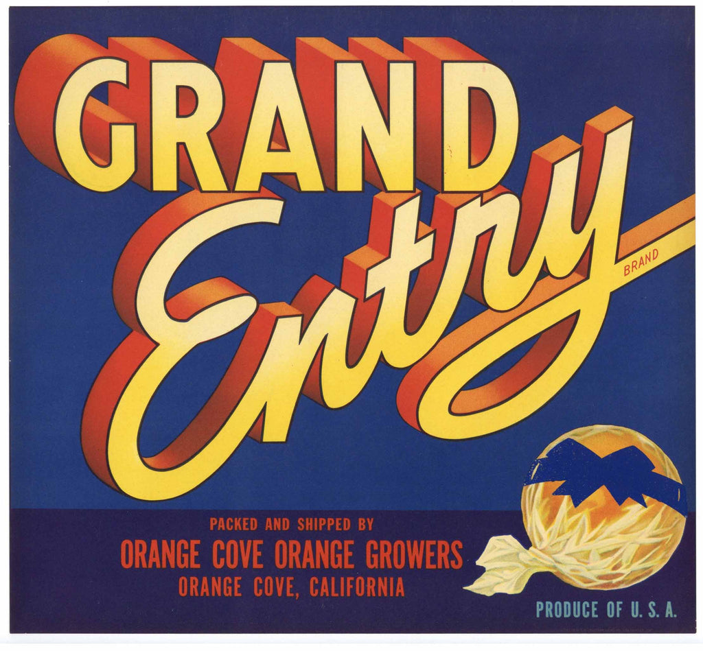 Grand Entry Brand Vintage Orange Crate Label